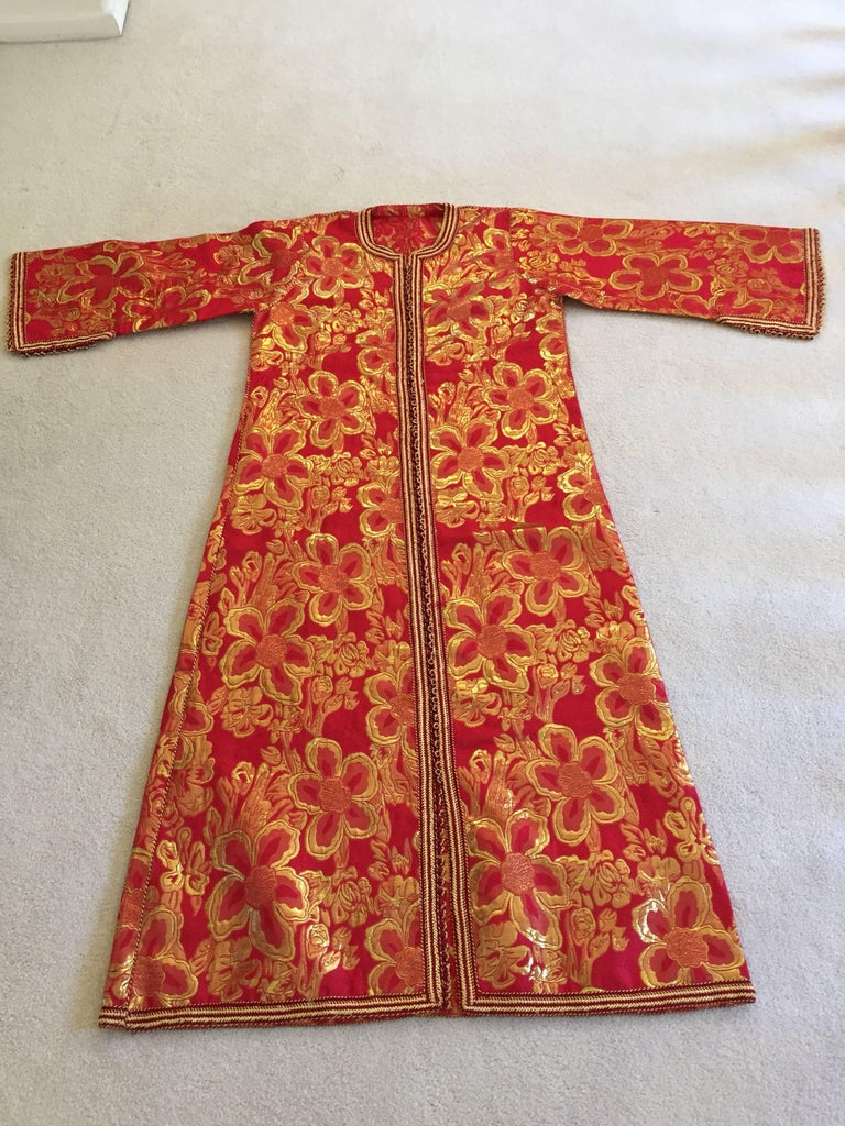 Vintage Moroccan Kaftan 1970s Red and Gold Floral Brocade Caftan Maxi Dress For Sale 2