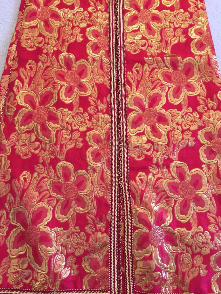 Vintage Moroccan Kaftan 1970s Red and Gold Floral Brocade Caftan Maxi Dress For Sale 3
