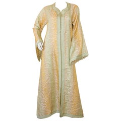 Vintage Moroccan Kaftan, Gold and Sage Damask Embroidered, ca. 1970s