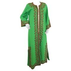 Vintage Moroccan Kaftan Green Maxi Dress circa 1970 Size L