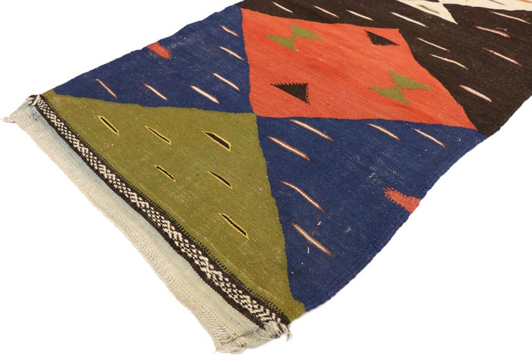 21074, vintage Moroccan Kilim Hallway runner with Retro Art Deco style, flat-weave rug. Measures: 02'03 x 08'00. With a bold geometric form and retro flair, this handwoven wool vintage Moroccan Kilim runner astounds with its beauty. Lively colors