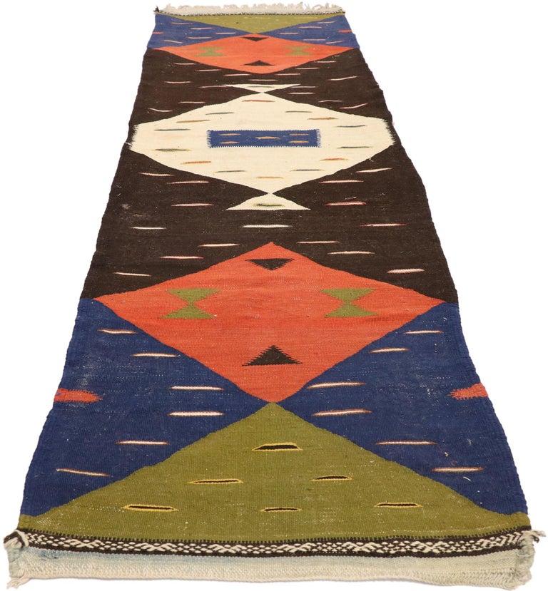 Mid-Century Modern Vintage Moroccan Kilim Hallway Runner with Retro Art Deco Style, Flat-Weave Rug