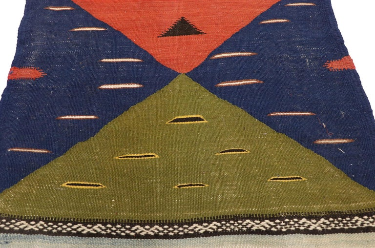 Hand-Woven Vintage Moroccan Kilim Hallway Runner with Retro Art Deco Style, Flat-Weave Rug
