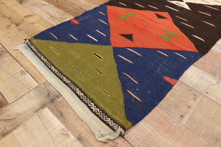 Vintage Moroccan Kilim Hallway Runner with Retro Art Deco Style, Flat-Weave Rug In Good Condition In Dallas, TX