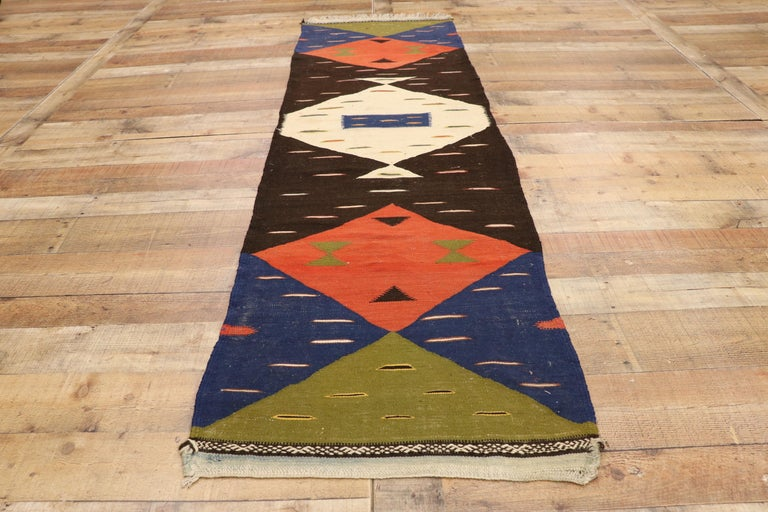 20th Century Vintage Moroccan Kilim Hallway Runner with Retro Art Deco Style, Flat-Weave Rug