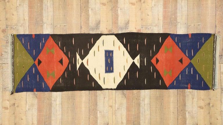 Wool Vintage Moroccan Kilim Hallway Runner with Retro Art Deco Style, Flat-Weave Rug