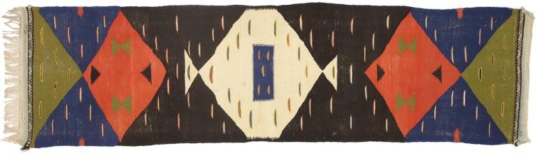 Vintage Moroccan Kilim Hallway Runner with Retro Art Deco Style, Flat-Weave Rug 1