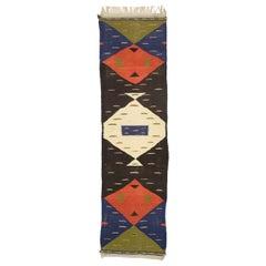 Vintage Moroccan Kilim Hallway Runner with Retro Art Deco Style, Flat-Weave Rug