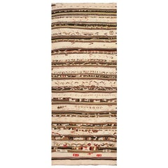 Vintage Moroccan Kilim Rug. Size: 4 ft 5 in x 11 ft (1.35 m x 3.35 m)