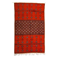 Vintage Moroccan Large Coral Wool Rug, Carpet with Abstract Flourishes