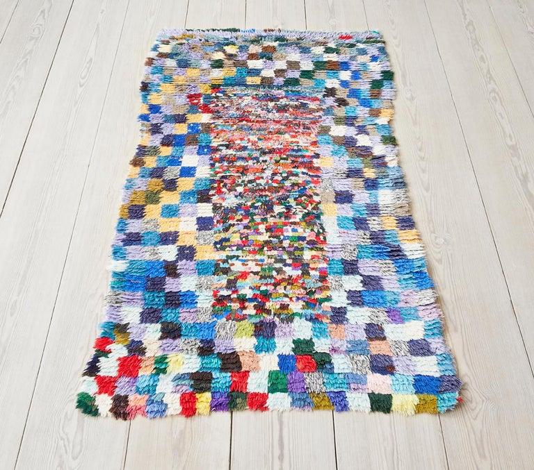 Morocco, vintage  Multicolored Boucherouite rug.  Measures: H 181 x W 95 cm.