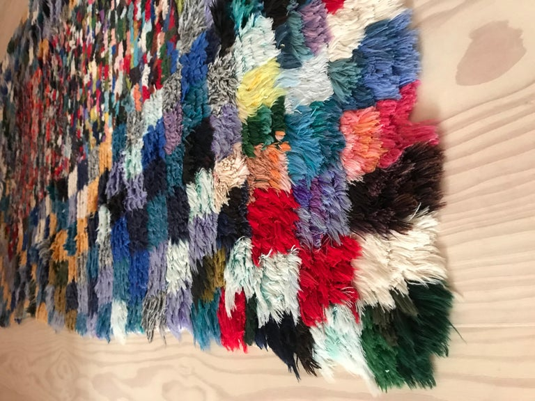 Wool Vintage Moroccan Late 20th Century Multicolored Boucherouite Rug For Sale