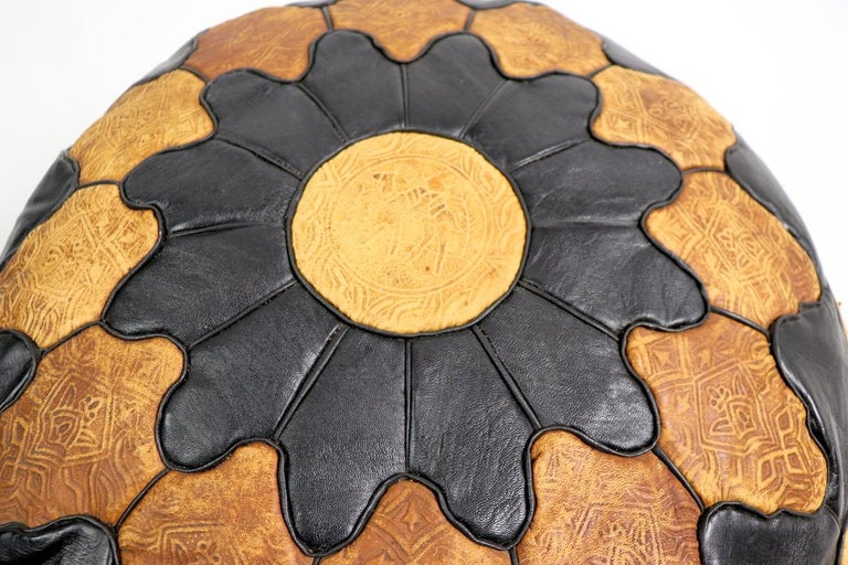 Vintage Moroccan Leather and Suede Ottoman Footrest Pouf For Sale 6