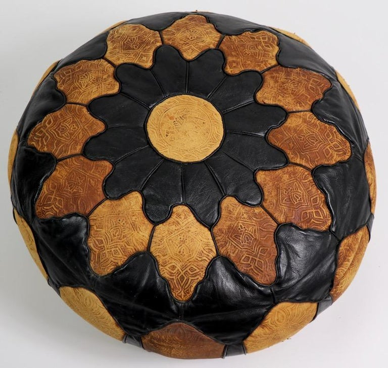 Mid-Century Modern Vintage Moroccan Leather and Suede Ottoman Footrest Pouf For Sale