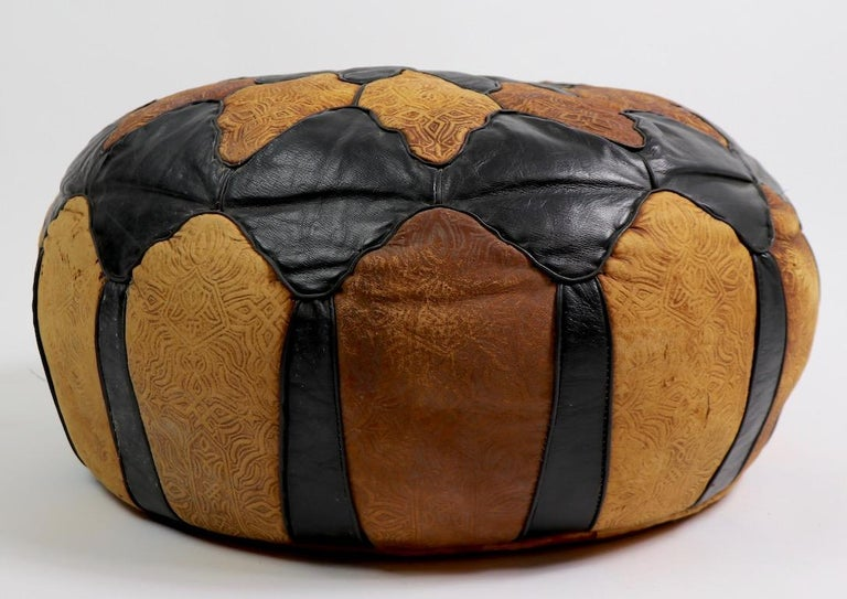 20th Century Vintage Moroccan Leather and Suede Ottoman Footrest Pouf For Sale