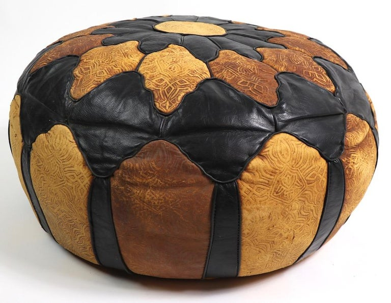 Vintage Moroccan Leather and Suede Ottoman Footrest Pouf For Sale 1