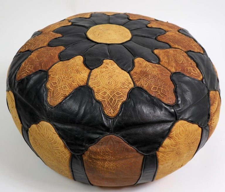 Vintage Moroccan Leather and Suede Ottoman Footrest Pouf For Sale 2