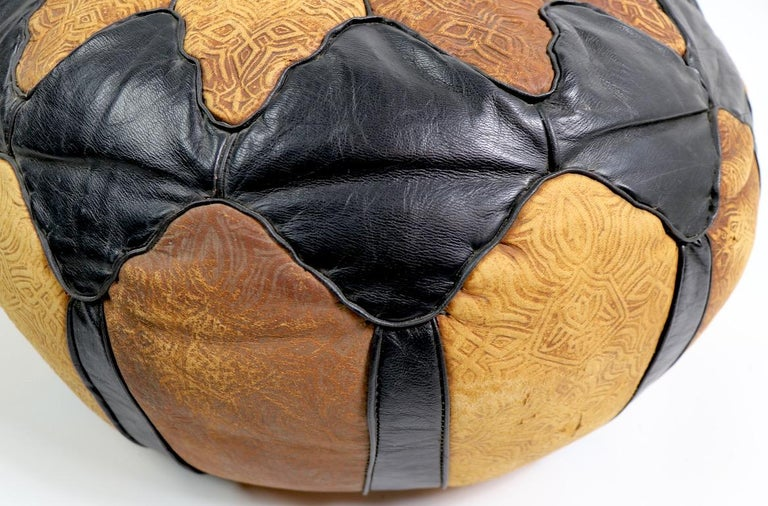 Vintage Moroccan Leather and Suede Ottoman Footrest Pouf For Sale 3