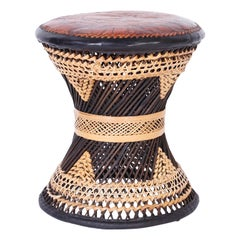 Vintage Moroccan Leather Stool