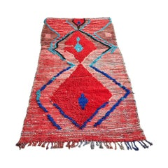 Vintage Moroccan Middle Atlas Runner in Red and Blue Tones
