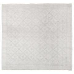 Vintage Moroccan Modernist Textural Ivory Cotton Square Rug