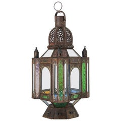 Vintage Moroccan Moorish Metal and Glass Candle Lantern