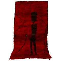 Vintage Moroccan Mrirt Berber Red and Black Rug, 1970