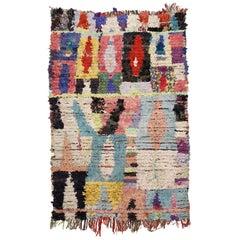 Vintage Moroccan Primitive Colorful Abstract Boujad Berber Rug