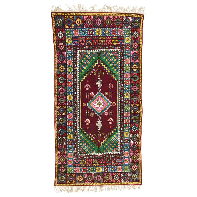 Vintage Moroccan Rabat Long Rug Antique Carpet Morocco