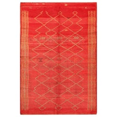 Vintage Moroccan Red Rug. Size: 5 ft. 6 in x 11 ft. 8 in