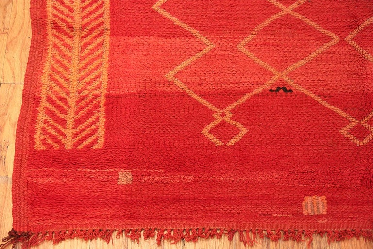 Hand-Knotted Vintage Moroccan Red Rug For Sale