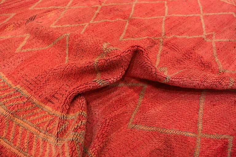 Vintage Moroccan Red Rug In Excellent Condition For Sale In New York, NY