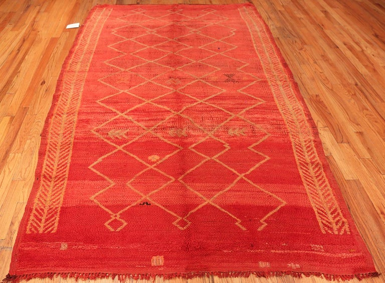Wool Vintage Moroccan Red Rug For Sale