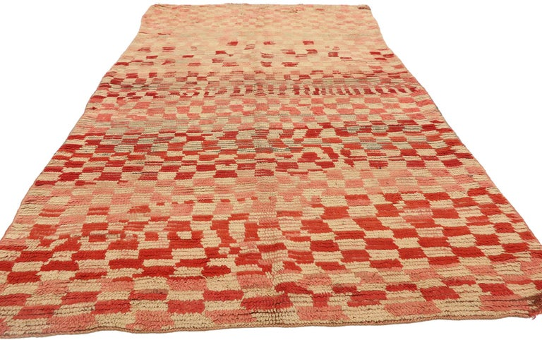 Mid-Century Modern Vintage Moroccan Rehamna Rug with Checkerboard Pattern and Cubism Style For Sale