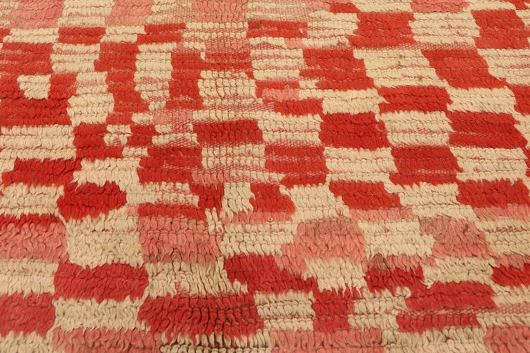 Hand-Knotted Vintage Moroccan Rehamna Rug with Checkerboard Pattern and Cubism Style For Sale