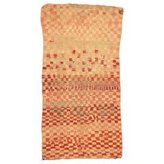 Vintage Moroccan Rehamna Rug with Checkerboard Pattern and Cubism Style
