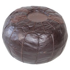 Vintage Moroccan Round Pouf Hand-Tooled in Fez Morocco
