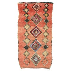 Vintage Moroccan Rug, Berber Colorful Boucherouite Runner with Bohemian Style