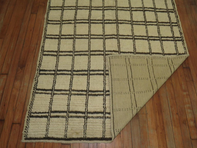 One of a kind Moroccan rug with a box shaped linear motif.