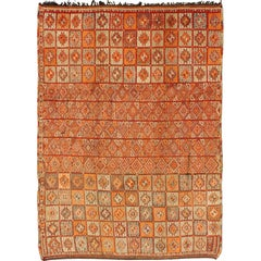 Vintage Moroccan Rug in Autumn Colors, Red, Pumpkin, Orange and Light Green