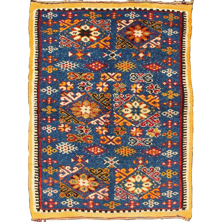 Vintage Moroccan Rug With Bright Blue Field And Colorful