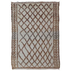 Vintage Moroccan Rug with Diamond Design in Ivory and Brown