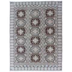 Vintage Moroccan Rug with Medallions in Black and Light Blue