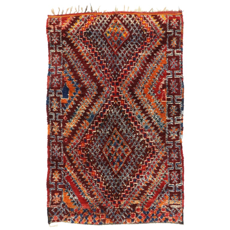 Vintage Moroccan Rug With Tribal Style, Moroccan Berber