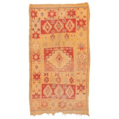 Vintage Moroccan Rug, Yellow and Red Field, Bright Colors