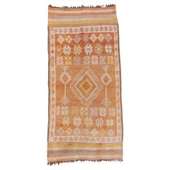 Vintage Moroccan Runner with a Light Orange Field