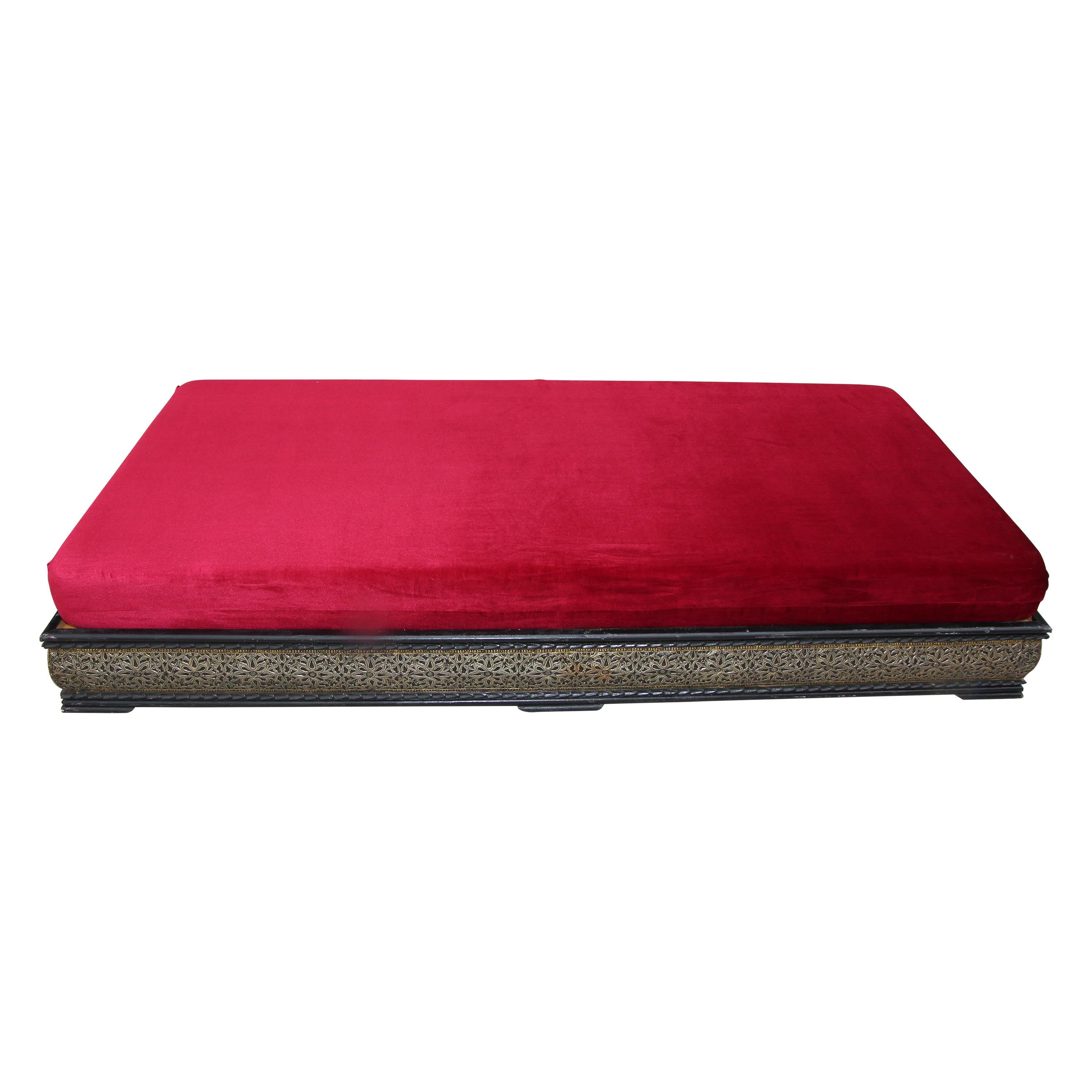 Vintage Moroccan Settee Low bench, Day Bed with Red Cushion
