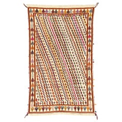Vintage Moroccan Souf Kilim Rug with Boho Chic Tribal Style, High-Low Rug