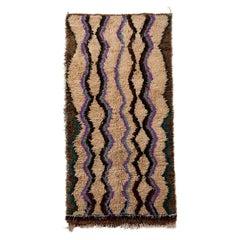 Vintage Moroccan Tribal Geometric Beige Brown and Blue Wool High Pile Rug