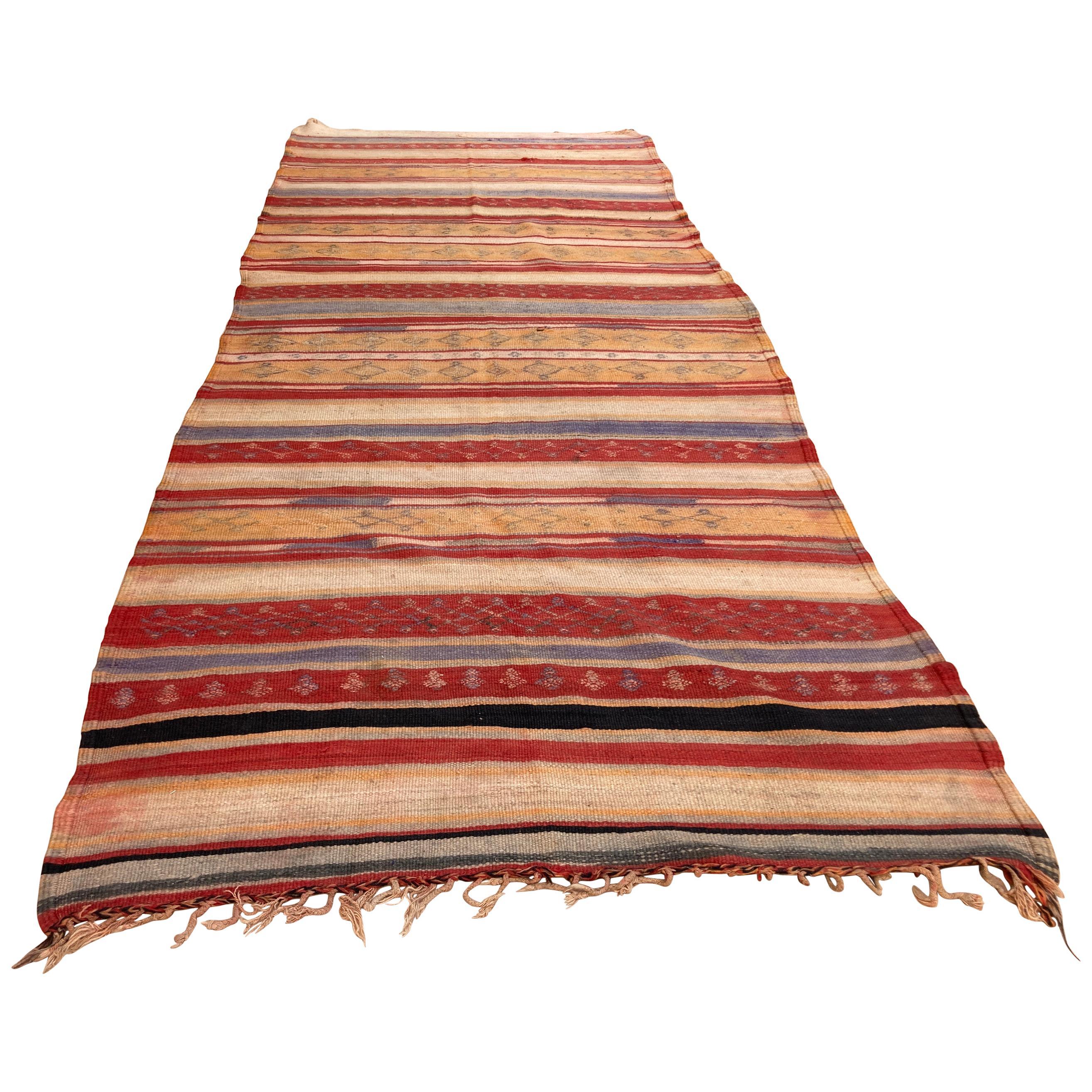 Vintage Moroccan Tribal Kilim Rug, circa 1960